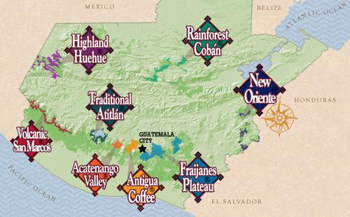 The Main Guatemala Coffees: the Antigua, Coban, San Marcos, and Huehuetenango Regional Varities