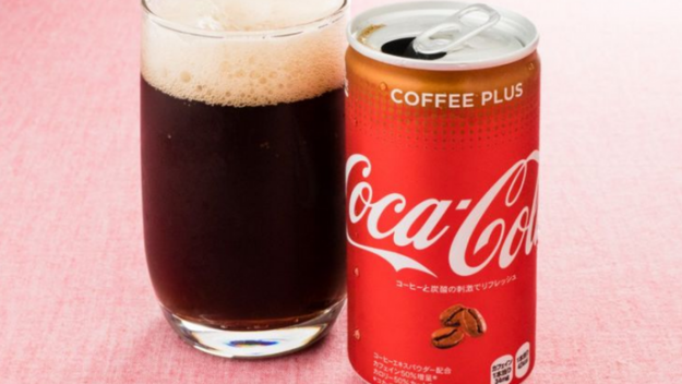 Coca Cola Coffee Plus can and glass
